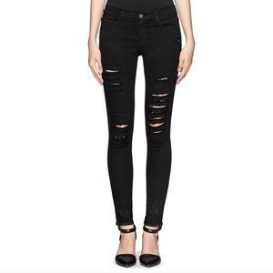 Frame Denim Jeans - Frame Le Skinny de Jeanne Black Distressed